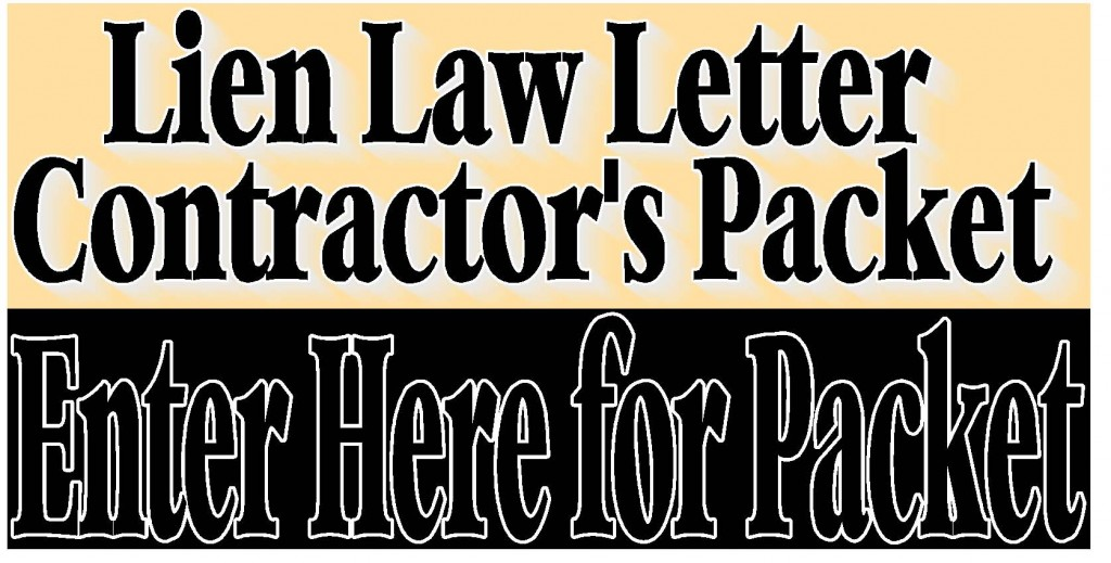 Lien Law Letter Contractor S Packet S Amp S Home Center